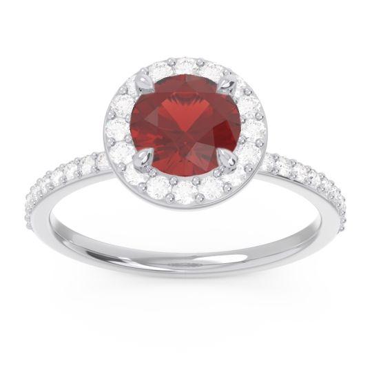 Garnet Halo Pave Citraka Ring with Diamond in 18k White Gold