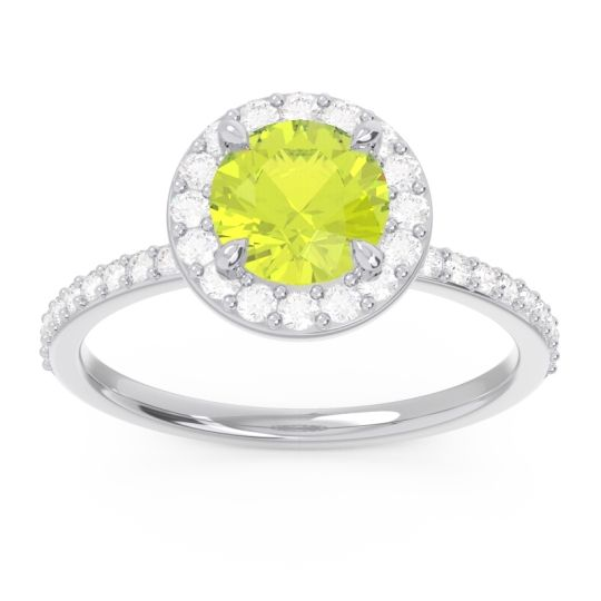 Halo Pave Citraka Peridot Ring with Diamond in 14k White Gold