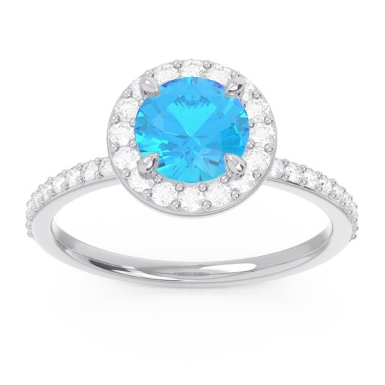 Swiss Blue Topaz Halo Pave Citraka Ring with Diamond in 14k White Gold