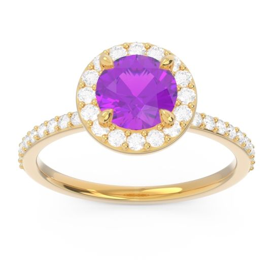Amethyst Halo Pave Citraka Ring with Diamond in 18k Yellow Gold