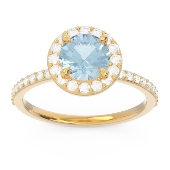 Aquamarine Halo Pave Citraka Ring with Diamond in 14k Yellow Gold