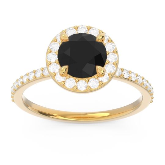 Black Onyx Halo Pave Citraka Ring with Diamond in 18k Yellow Gold