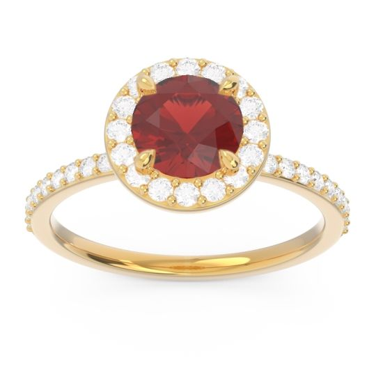 Garnet Halo Pave Citraka Ring with Diamond in 14k Yellow Gold