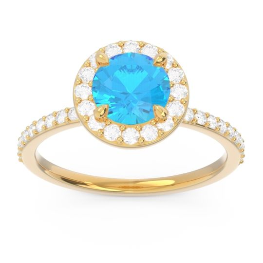 Swiss Blue Topaz Halo Pave Citraka Ring with Diamond in 18k Yellow Gold