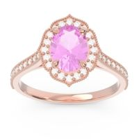 Pink Tourmaline Halo Milgrain Pave Oval Kothari Ring with Diamond in 14K Rose Gold