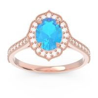 Swiss Blue Topaz Halo Milgrain Pave Oval Kothari Ring with Diamond in 14K Rose Gold