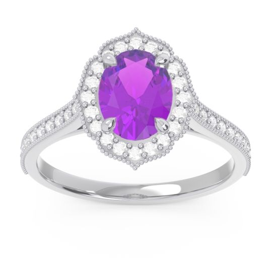 Halo Milgrain Pave Oval Kothari Amethyst Ring with Diamond in 14k White Gold