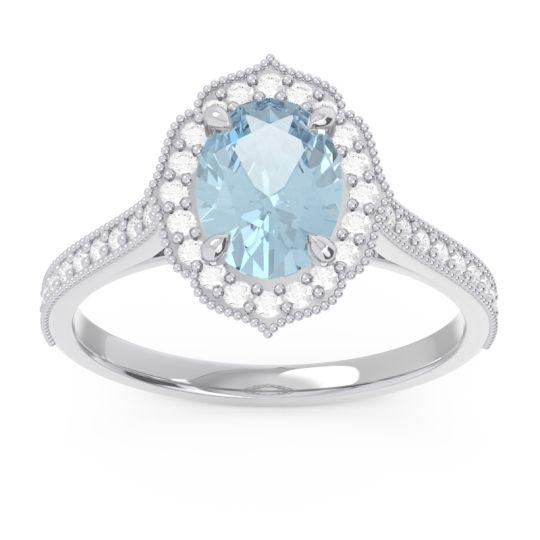 Aquamarine Halo Milgrain Pave Oval Kothari Ring with Diamond in 14k White Gold