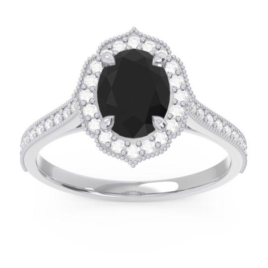 Black Onyx Halo Milgrain Pave Oval Kothari Ring with Diamond in 14k White Gold