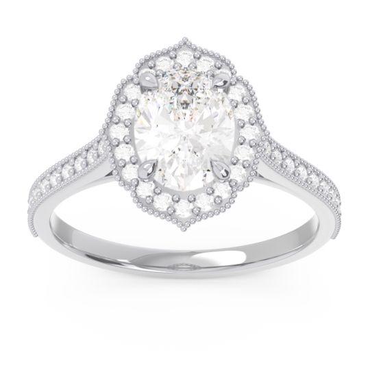 Diamond Halo Milgrain Pave Oval Kothari Ring in 14k White Gold