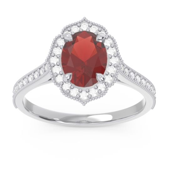Garnet Halo Milgrain Pave Oval Kothari Ring with Diamond in 14k White Gold