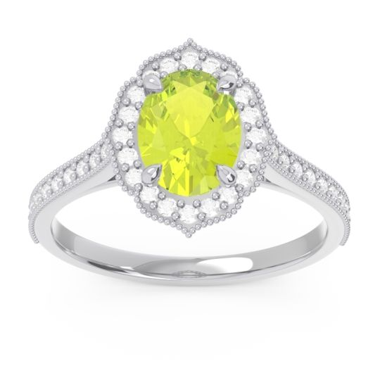 Peridot Halo Milgrain Pave Oval Kothari Ring with Diamond in 14k White Gold