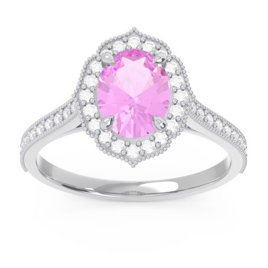 Pink Tourmaline Halo Milgrain Pave Oval Kothari Ring with Diamond in 14k White Gold
