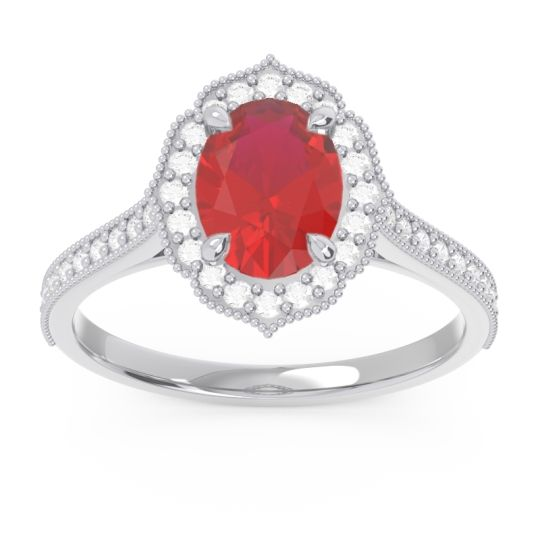 Ruby Halo Milgrain Pave Oval Kothari Ring with Diamond in 14k White Gold