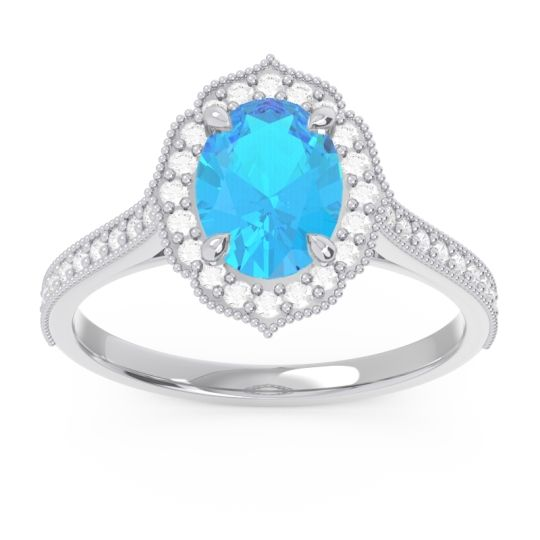 Swiss Blue Topaz Halo Milgrain Pave Oval Kothari Ring with Diamond in 14k White Gold