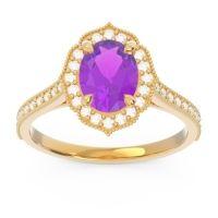 Amethyst Halo Milgrain Pave Oval Kothari Ring with Diamond in 18k Yellow Gold