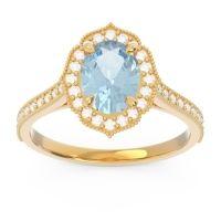 Aquamarine Halo Milgrain Pave Oval Kothari Ring with Diamond in 14k Yellow Gold