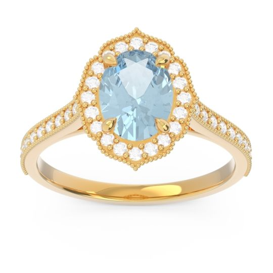 Aquamarine Halo Milgrain Pave Oval Kothari Ring with Diamond in 14k Yellow Gold
