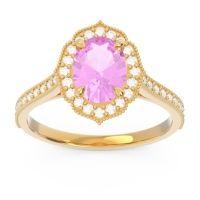 Pink Tourmaline Halo Milgrain Pave Oval Kothari Ring with Diamond in 14k Yellow Gold