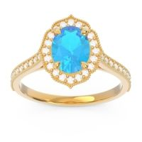 Swiss Blue Topaz Halo Milgrain Pave Oval Kothari Ring with Diamond in 18k Yellow Gold