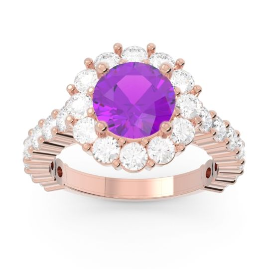 Amethyst Halo Pave Varida Ring with Diamond in 14K Rose Gold