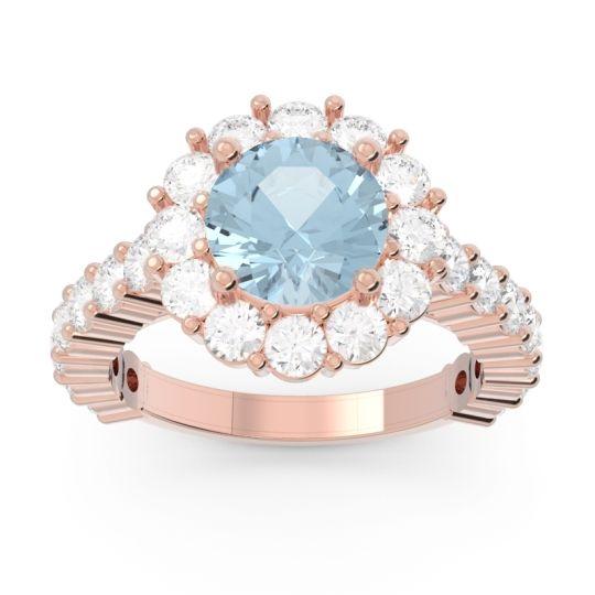 Aquamarine Halo Pave Varida Ring with Diamond in 14K Rose Gold