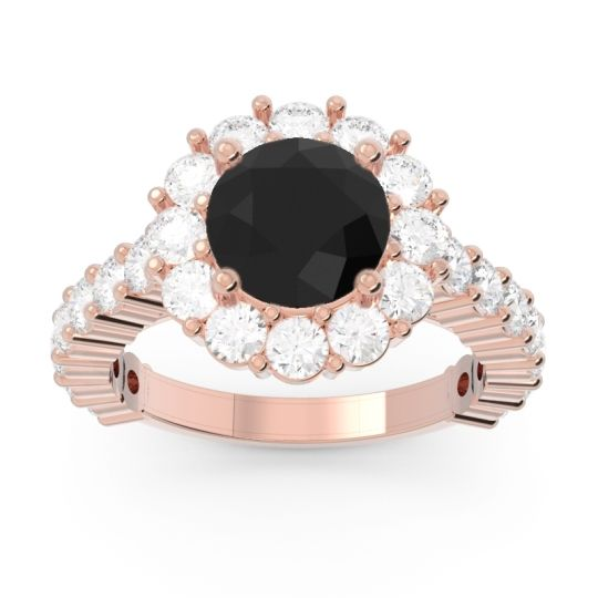 Black Onyx Halo Pave Varida Ring with Diamond in 14K Rose Gold