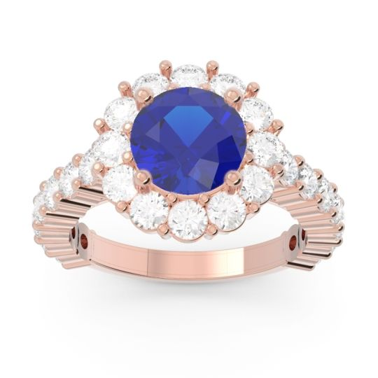 Halo Pave Varida Blue Sapphire Ring with Diamond in 14K Rose Gold