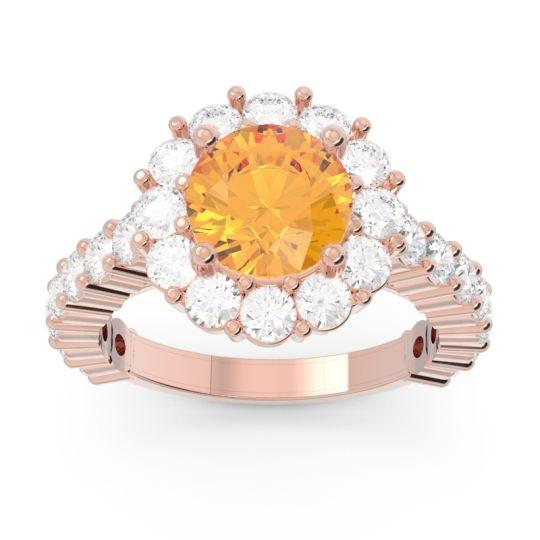 Halo Pave Varida Citrine Ring with Diamond in 14K Rose Gold