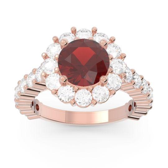 Garnet Halo Pave Varida Ring with Diamond in 14K Rose Gold