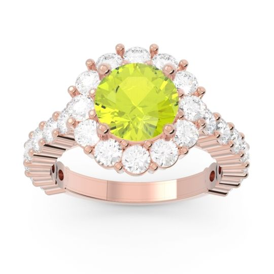 Peridot Halo Pave Varida Ring with Diamond in 14K Rose Gold