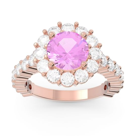 Halo Pave Varida Pink Tourmaline Ring with Diamond in 14K Rose Gold