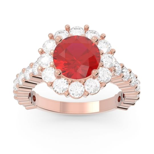 Ruby Halo Pave Varida Ring with Diamond in 14K Rose Gold