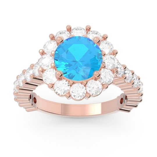 Swiss Blue Topaz Halo Pave Varida Ring with Diamond in 14K Rose Gold
