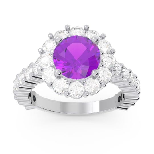 Halo Pave Varida Amethyst Ring with Diamond in 14k White Gold