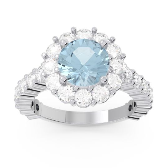 Aquamarine Halo Pave Varida Ring with Diamond in Palladium