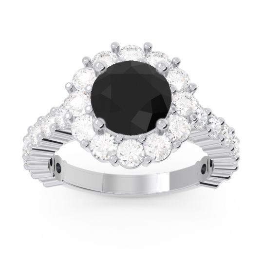 Black Onyx Halo Pave Varida Ring with Diamond in 18k White Gold