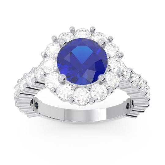 Halo Pave Varida Blue Sapphire Ring with Diamond in 14k White Gold