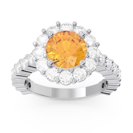 Citrine Halo Pave Varida Ring with Diamond in 14k White Gold