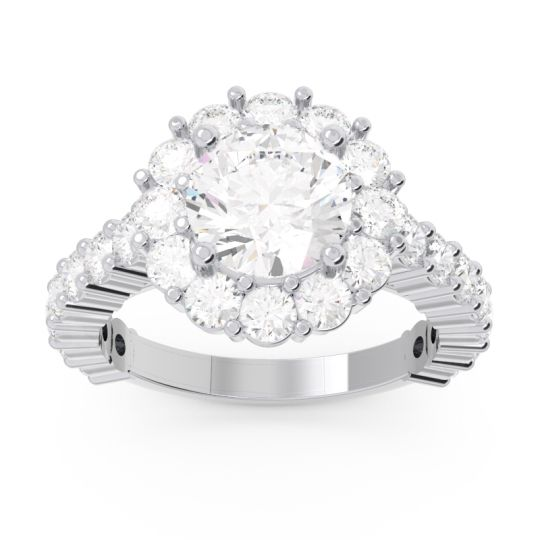 Halo Pave Varida Diamond Ring in 14k White Gold