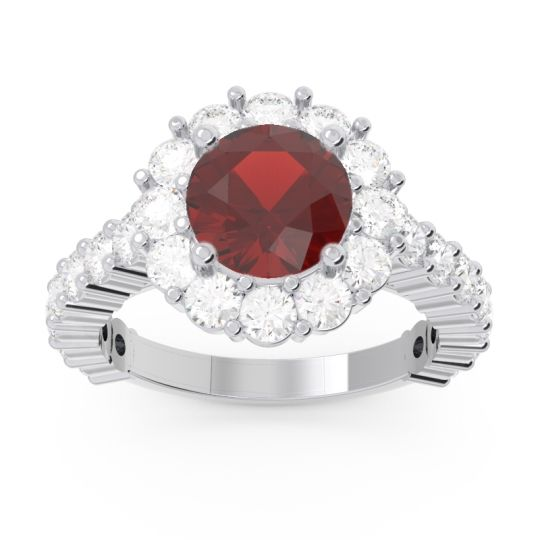 Halo Pave Varida Garnet Ring with Diamond in 14k White Gold