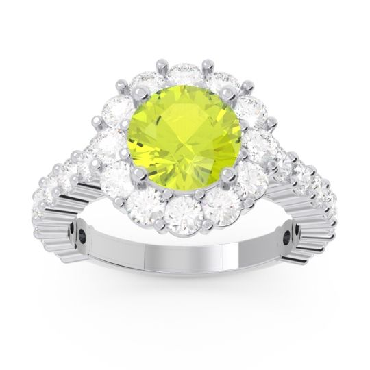 Halo Pave Varida Peridot Ring with Diamond in 14k White Gold