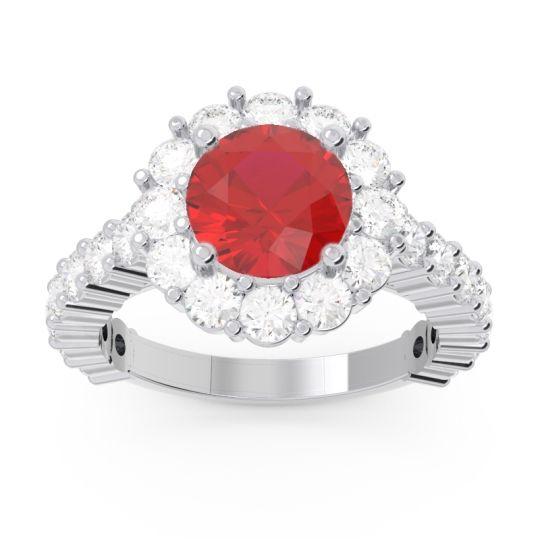 Halo Pave Varida Ruby Ring with Diamond in 14k White Gold