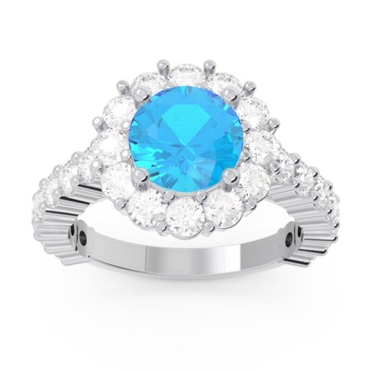 Swiss Blue Topaz Halo Pave Varida Ring with Diamond in 18k White Gold