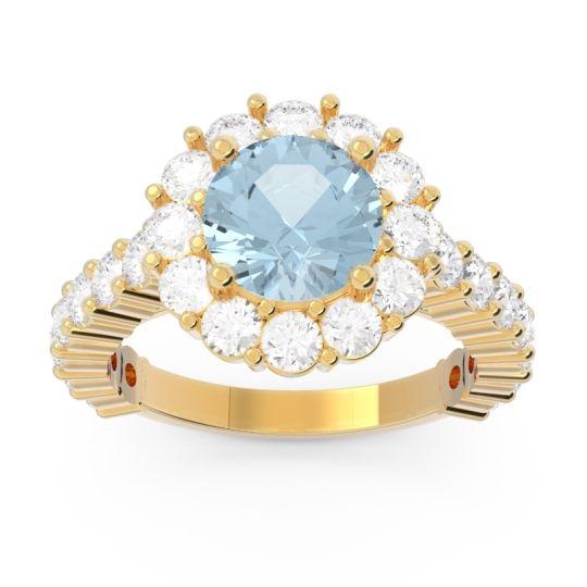Aquamarine Halo Pave Varida Ring with Diamond in 18k Yellow Gold