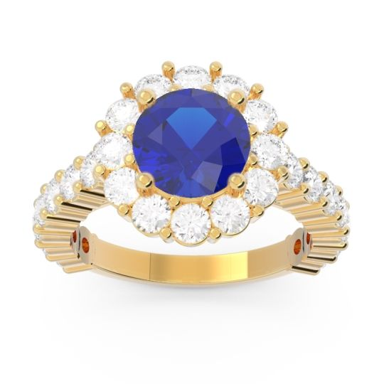 Halo Pave Varida Blue Sapphire Ring with Diamond in 14k Yellow Gold