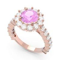 Pink Tourmaline Halo Pave Varida Ring with Diamond in 14K Rose Gold