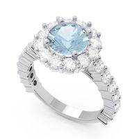 Aquamarine Halo Pave Varida Ring with Diamond in Platinum