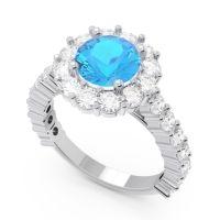Swiss Blue Topaz Halo Pave Varida Ring with Diamond in 14k White Gold