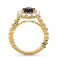 Black Onyx Halo Pave Varida Ring with Diamond in 14k Yellow Gold
